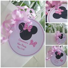 5 X MINNIE MOUSE HEN DO HEN PARTY PERSONALISED CRYSTAL GIFT TAGS & RIBBON