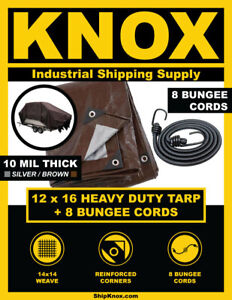 ShipKNOX 10 MIL TARP, 12X16 FT SILVER/BROWN, BUNGEES INCLUDED!