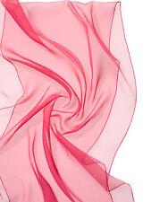 Long Scarf,Pure Silk, Chiffon 3.5, Azalea, 180 x 55 CM