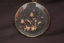 Vintage Pressed Butterfly & Flower Round Window Ornament Suncatcher Wall Hanging