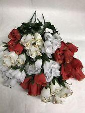 """60 Rosas 10x14"""" Flores Artificiales Rosebud racimos JOBLOT Navidad el aclaramiento"""