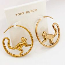 Tory Burch Logo Monkey Loop Earrings Gold Plated NEW WITH TAG/BAG