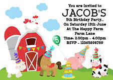 10 Personalised Party Time Farm Animals / Farmyard Birthday Party Invitations