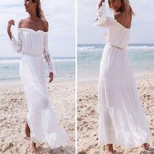 Fashion Women's Off-shoulder Strapless Boho Summer Beach Long Maxi Dresses Regular S White