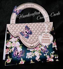 13 'HANDBAG' BIRTHDAY CARD PINK ROSES MUM/NAN/SIS/AGE/NAME/PERSONALISED