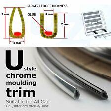 Camper Van Silver Chrome Auto Mouldings Trim U Style Door Edge Guards Protect 7M
