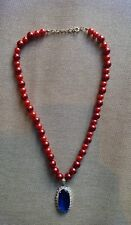 """WOMEN'S 11.5"""" NECKLACE FAUX DEEP RED BURGUNDY PEARLS NAVY RHINESTONE NAUTICAL"""