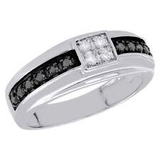 10K White Gold Mens Black Diamond Wedding Band Square Engagement Ring 0.50 Ct.