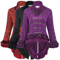 Ladies Jacquard Victorian Steampunk Gothic Dressage Corset Back Jacket S-2XL Red