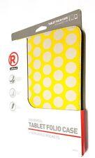 "RadioShack 2604152 Universal Tablet Folio Case Cover 7- 8"" - Yellow Gray Dots..."