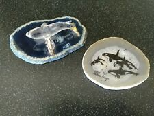 ANDREA MEYER ALASKA KILLER WHALE MINERAL COASTER SPOONTIQUES GLASS PAPERWEIGHT