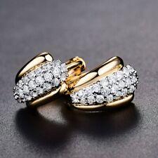 18k Gold Platinum Filled White Sapphire CZ Gemstone Crystal Stud Hoop Earrings