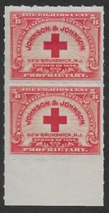 RS286r 5/8c JOHNSON & JOHNSON 1898 Private Die Revenue Margin Pair MOG