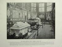 1896 VICTORIAN LONDON PRINT + TEXT ~ THE ALBERT MEMORIAL CHAPEL WINDSOR EAST