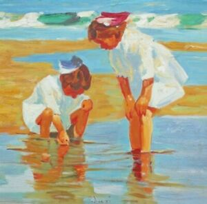 Indistinctly Signed - Impressionist Oil Painting - Children Playing on a Beach.