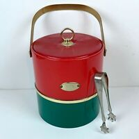 Georges Briard Red Green Ice Bucket Tongs Vintage Mid Century Modern Christmas