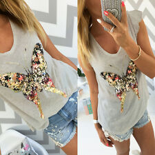 Fashion Women's Butterfly Crop Top Summer Casual Tank Tops Vest Blouse T Shirt