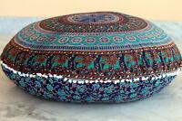 "Indian Mandala Round Meditation Pom Pom Floor Cushion Cover Elephant Cotton 32"""