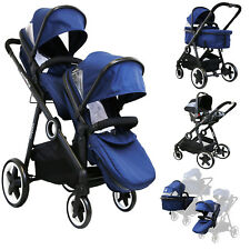 iSafe Tandem Pram Me&you - 2 Tone Navy (navy) With Car Seat and 3 Foot Muff