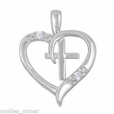 Necklace i Solid Sterling Silver Genuine Diamond Cross in Heart Pendant