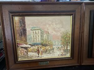 """Framed Painting """"Street Scene"""" by M Church, Oil Painting, Old Painting!"""