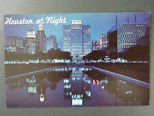 Houston Texas Tx City Skyline Scene At Night Vintage Postcard 1950s