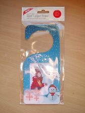 SANTA STOP HERE CHRISTMAS DOOR HANGER add your own 90x60 PH0TO (blue)
