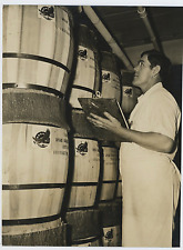 U.S.A., Wine barrels  Vintage silver print Tirage argentique  19x26  Circa