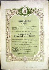 Steinkohlen-Bergwerk Friedrich der Große Herne hist. Kuxschein 1888 Waldthausen