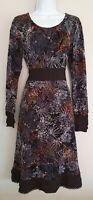 Womens Joe Browns Black Floral Velvet Devore Jersey Fit And Flare Dress10 New.