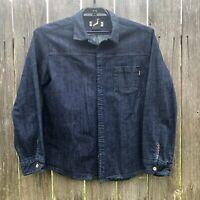 Evisen Skateboards Blue Denim Shirt Jacket Dark Wash Cotton Japan Men's Size XL