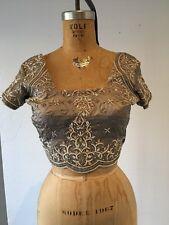 XS Silver Beaded and Embroidered Satin Sari Choli crop top Saree blouse India
