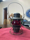 VINTAGE ADLAKE KERO NYCS RAILROAD OIL LAMP WITH RED TINTED GLASS (RR)