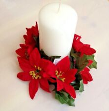 Red 7-Poinsettia Candle Ring Pillar Taper Christmas Home (Flower Decor Only) US