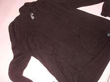 offener Cardigan Poncho Weste Schalkragen H&M M 38 schwarz Feinstrick geriffelt
