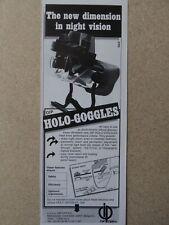 4/1987 PUB OIP OPTICS HOLO GOGGLES NIGHT VISION NOCTURNE NACHTSICHT ORIGINAL AD