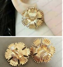 CLIP ON 2.5cm big EARRINGS vintage flower RETRO 50s 60s GOLD FASHION textured