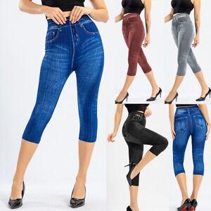 Women Ladies Stretchy Denim Print Pants Denim Look Skinny Legging Capri Jeggings