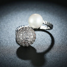 925 Silver Ring Thai Silver Freshwater Pearl Ring Adjustable Ring Girls Jewelry