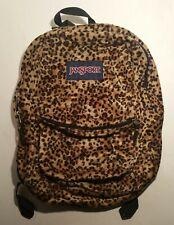 JANSPORT TRS7 Leopard Animal Print Soft Furry Plush Full Size Book Bag Backpack