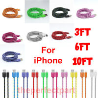 For iPhone 7 8 11 Plus XS XR Lightning Charger Cable 3/6/10FT USB Charging Cord