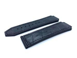 Black 23/20mm Top Croco Leather Strap/Band fit HUBLOT Watch Big Bang