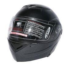 DOT Carbon Fiber Look Flip Up Modular Full Face Street Motorcycle Helmet Size M