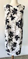 VERONIKA MAINE Sz 12 Black & Ivory Orchid Print Relaxed Shift Dress, Sleeveless