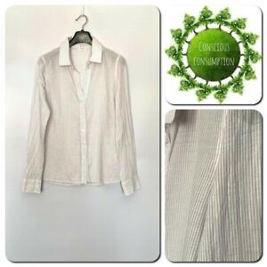 James Perse Women's Shirt Size 2 UK Size 10-12 Striped Cotton Long Sleeve