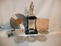 1937 King George V Memorial Fund Silver CRICKET TROPHY & 78 rpm Records unusual