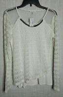 NWT Maurices Sz M  White Top with Open Weave Lace and Beading