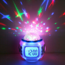 Fashion LED Light Starry Star Projection Music Alarm Clock For Kids Child Room
