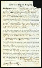 1863 James C Fargo signs American Express Contract for Henry Wells - RARE