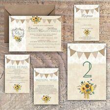 Wedding Invitations Personalised Rustic damask/bunting/sunflower packs of 10